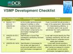 vsmp development checklist1