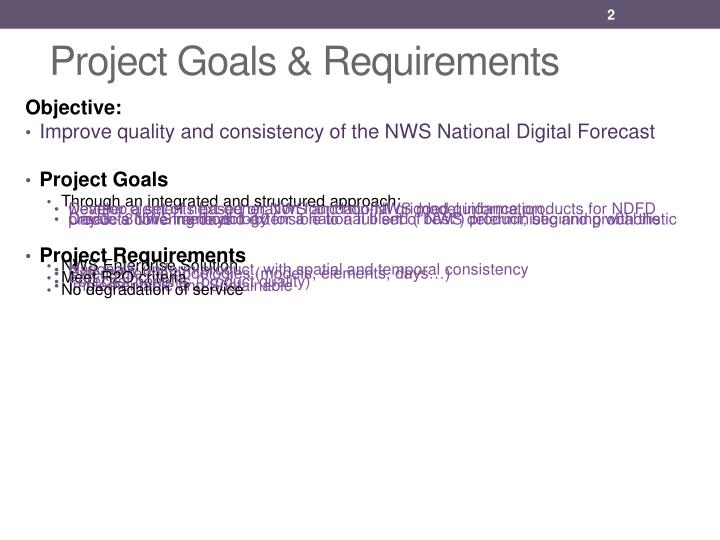 Project goals requirements