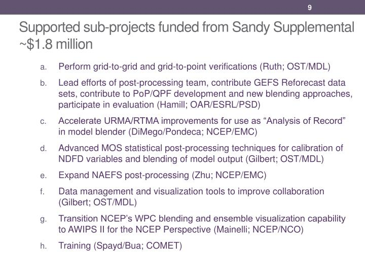 Supported sub-projects funded from Sandy Supplemental ~$1.8 million