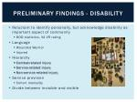 preliminary findings disability