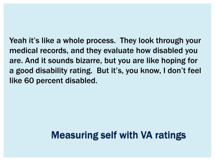 Yeah it's like a whole process.  They look through your medical records, and they evaluate how disabled you are. And it sounds bizarre, but you are like hoping for a good disability rating.  But it's, you know, I don't feel like 60 percent disabled.