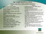 no single permit to mine many permits and authorizations