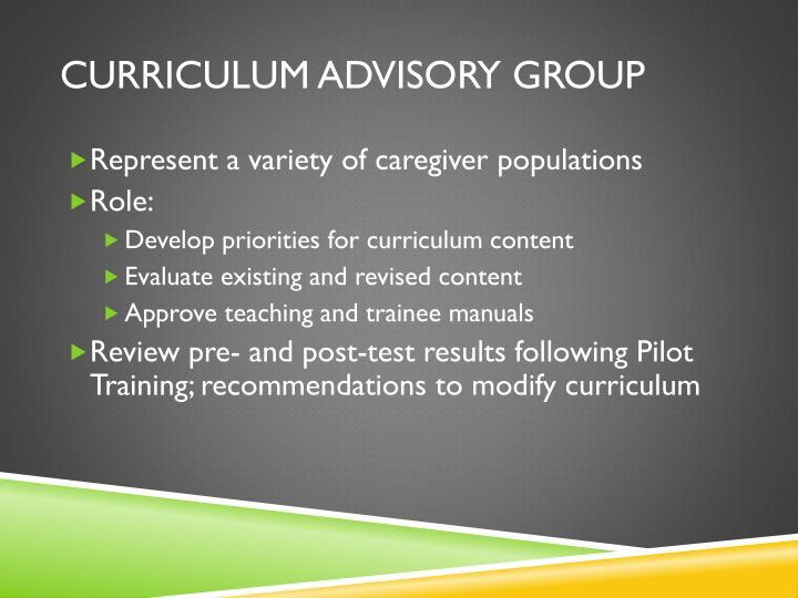 Curriculum Advisory Group