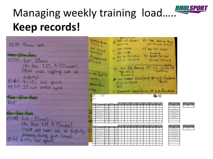 Managing weekly training