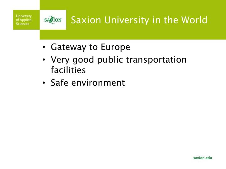 Saxion university in the world