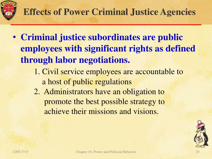 Criminal justice power and authority