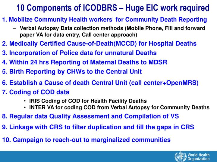 10 Components of ICODBRS – Huge EIC work required