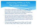 authorizing aprns as pcps the current situation1