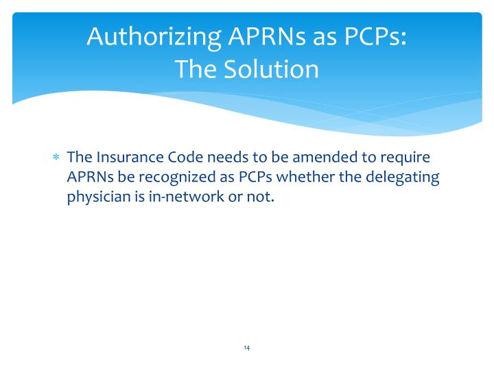Authorizing APRNs as PCPs: