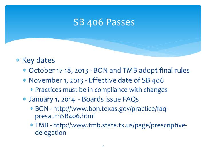 SB 406 Passes