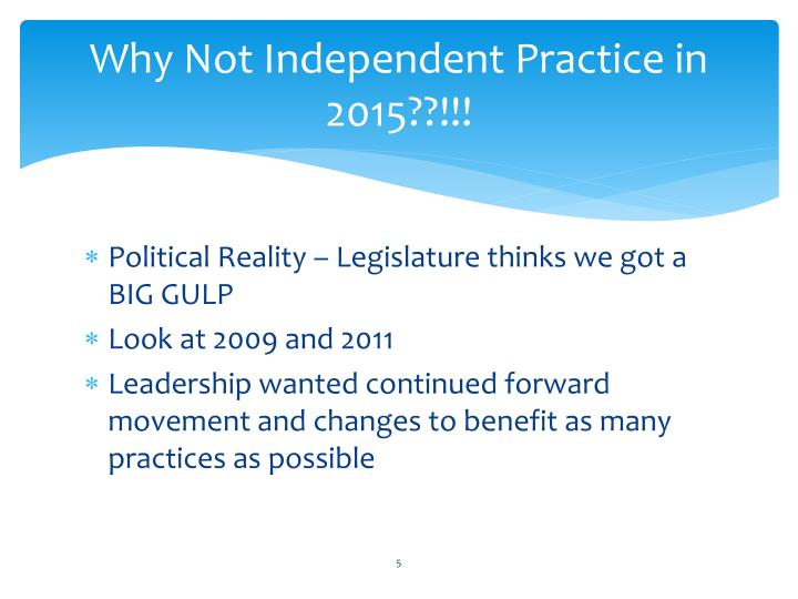 Why Not Independent Practice in 2015??!!!