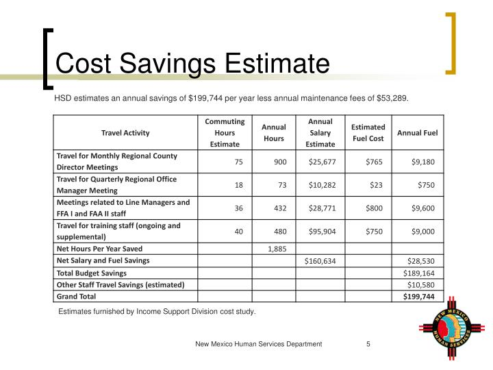 Cost Savings Estimate