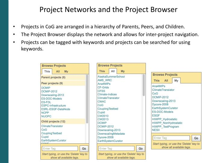 Project Networks and the Project Browser
