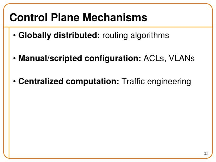 Control Plane Mechanisms