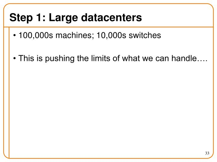 Step 1: Large datacenters