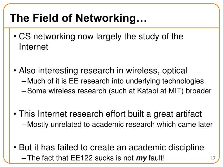 The Field of Networking…