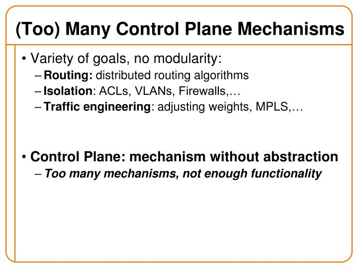 (Too) Many Control Plane Mechanisms