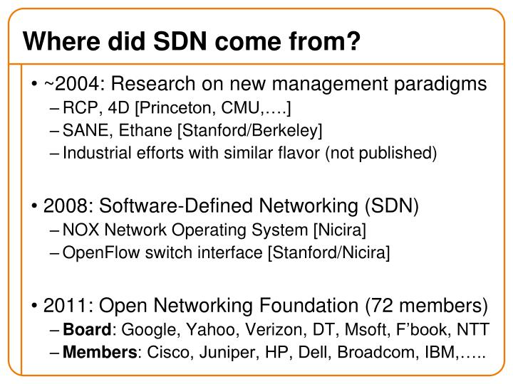 Where did SDN come from?