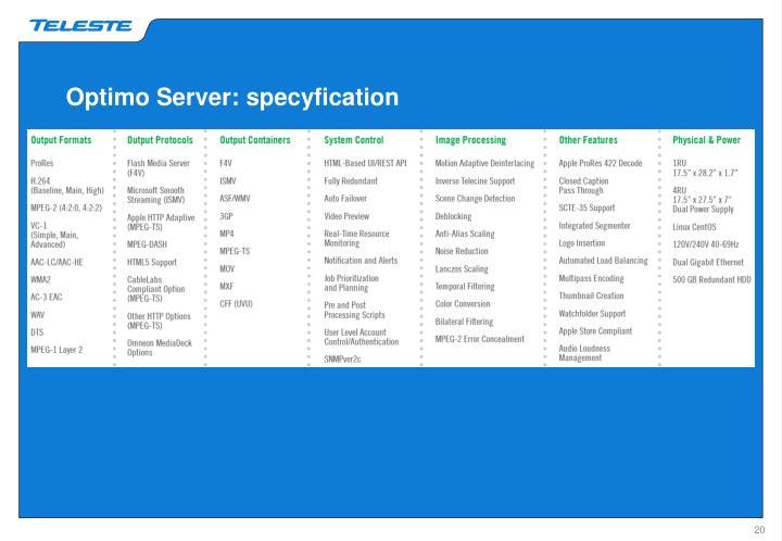 Optimo Server: