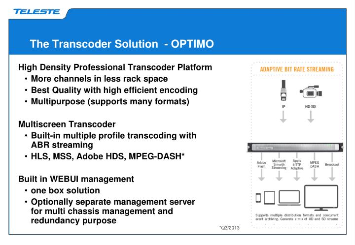 The Transcoder Solution  - OPTIMO