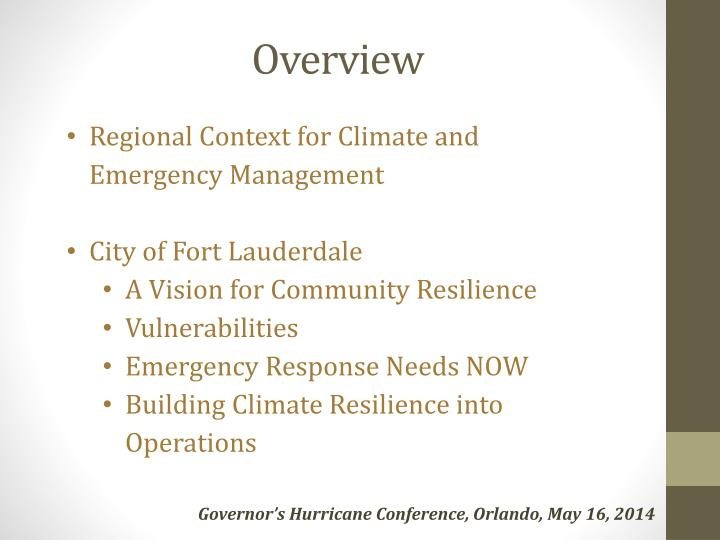 Regional Context for Climate and Emergency Management