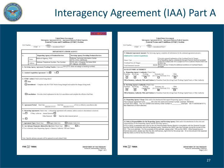 Interagency Agreement (IAA) Part A