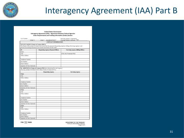Interagency Agreement (IAA) Part B