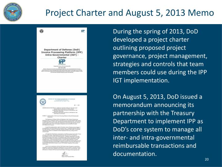 Project Charter and August 5, 2013 Memo