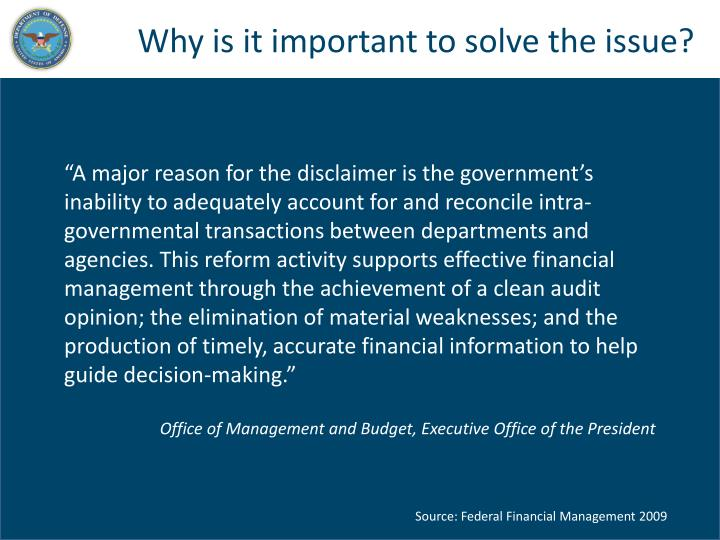 Why is it important to solve the issue?