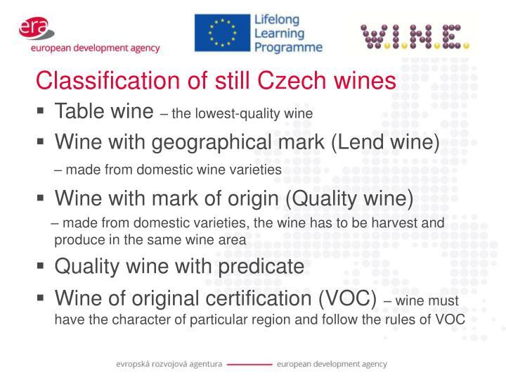 Classification of still Czech wines