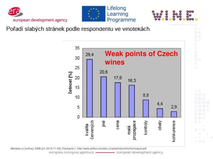 Weak points of Czech wines