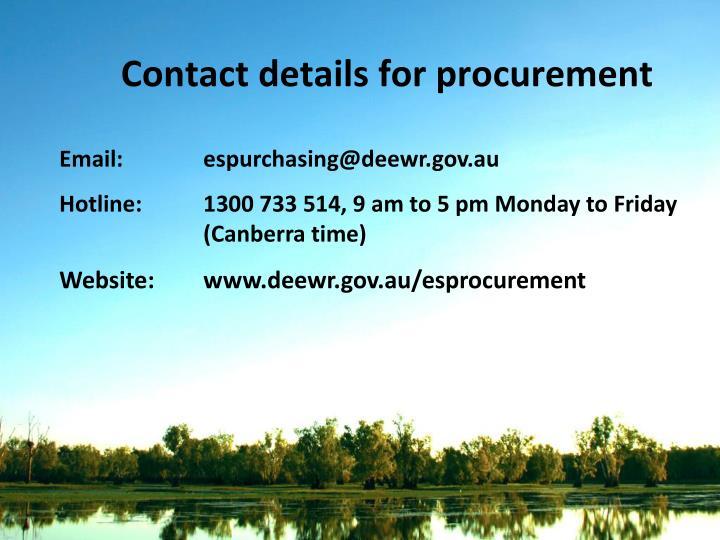 Contact details for procurement