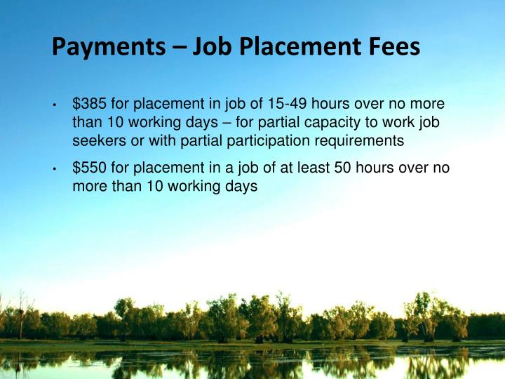 Payments – Job Placement Fees