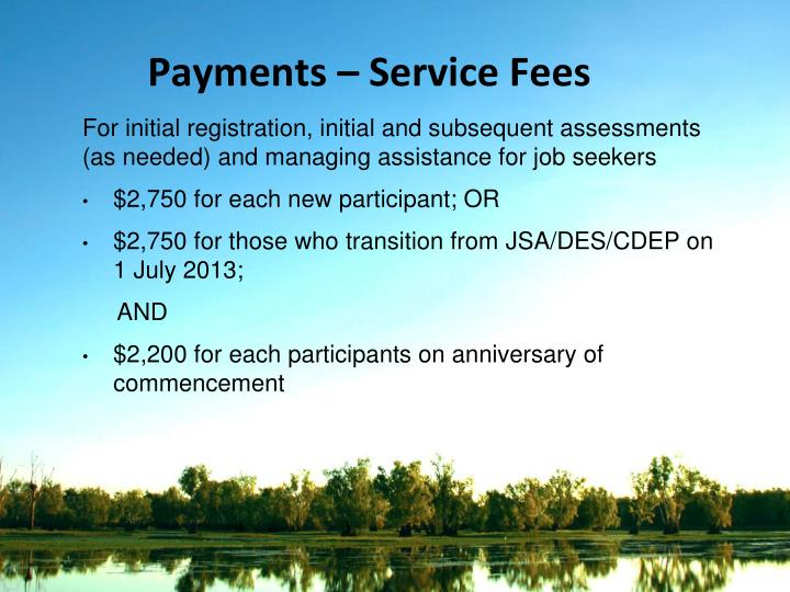 Payments – Service Fees