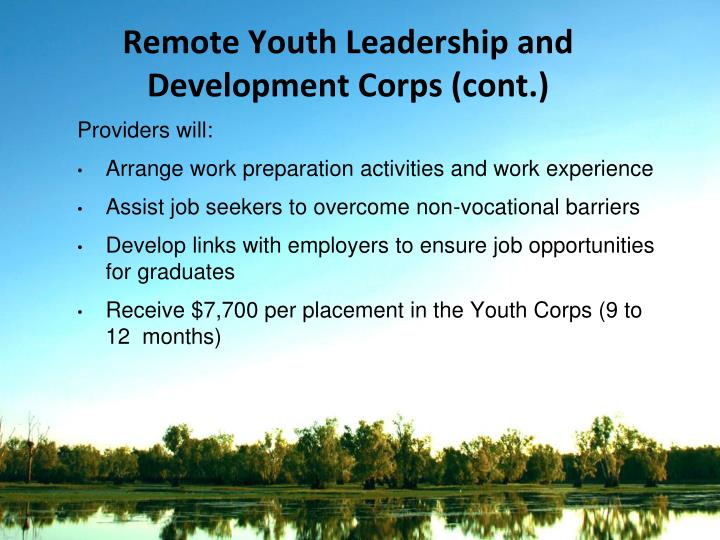 Remote Youth Leadership and Development Corps (cont.)