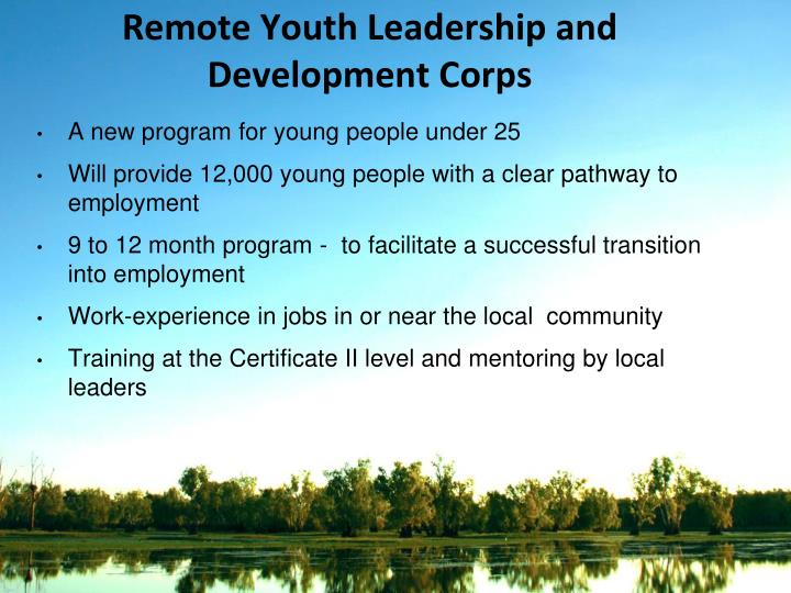 Remote Youth Leadership and Development Corps