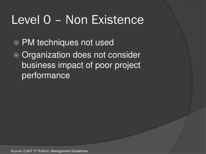 Level 0 – Non Existence