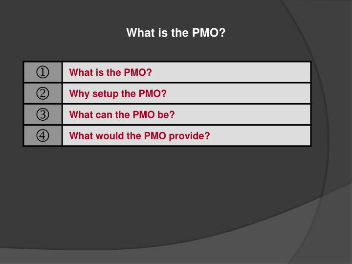 What is the PMO?
