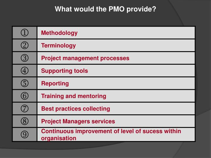 What would the PMO provide?