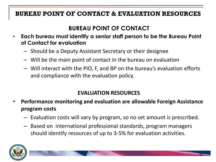 BUREAU POINT OF CONTACT & EVALUATION RESOURCES