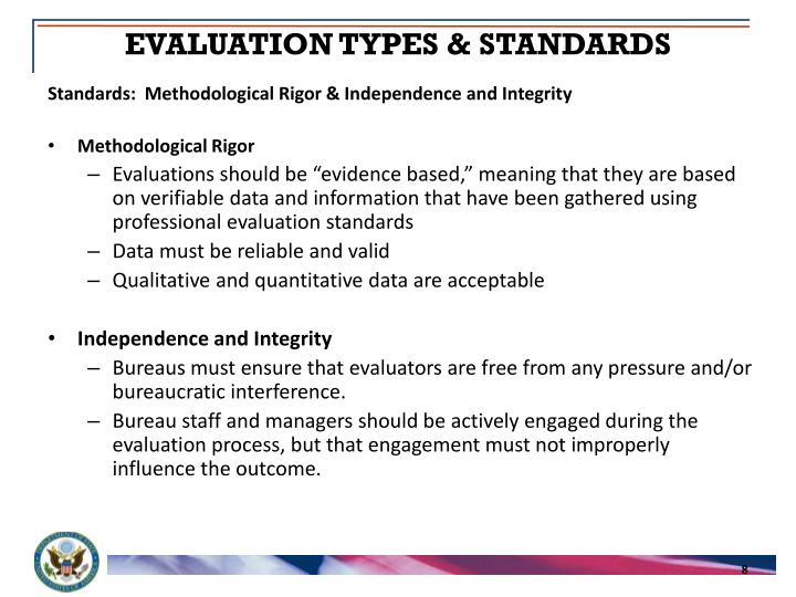 EVALUATION TYPES & STANDARDS