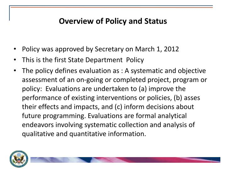 Overview of policy and status