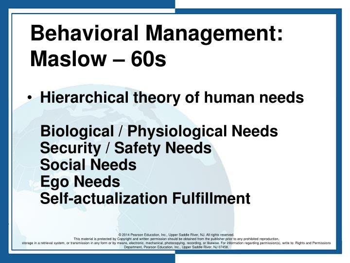 Behavioral Management: Maslow – 60s