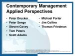 contemporary management applied perspectives
