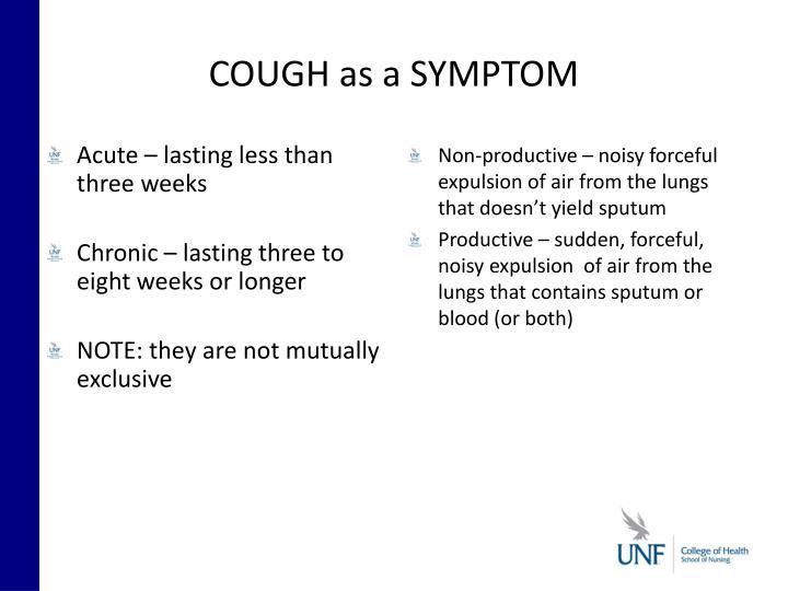 COUGH as a SYMPTOM