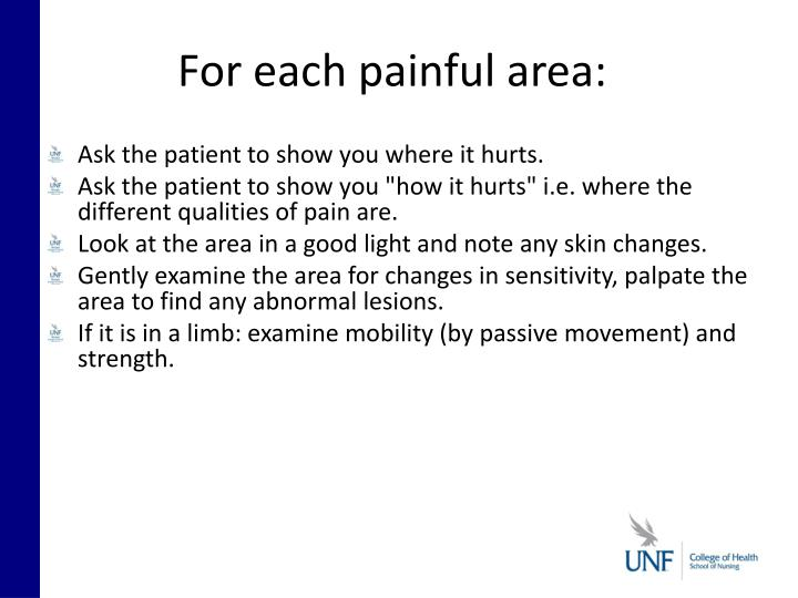 For each painful area: