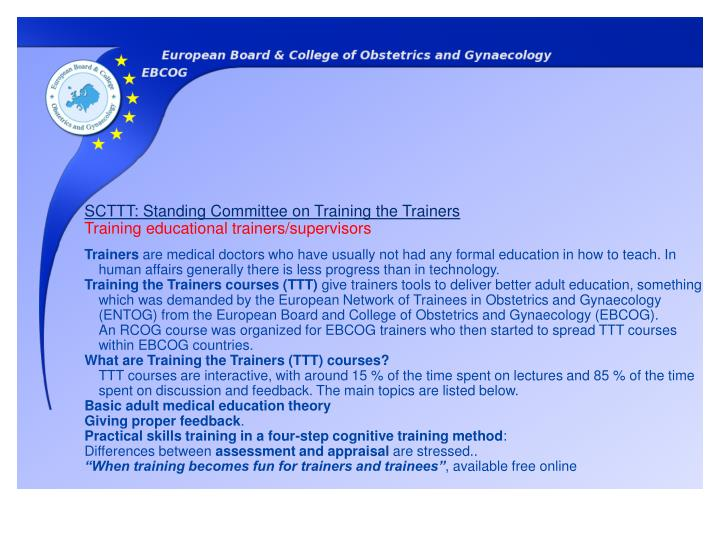SCTTT: Standing Committee on Training the Trainers