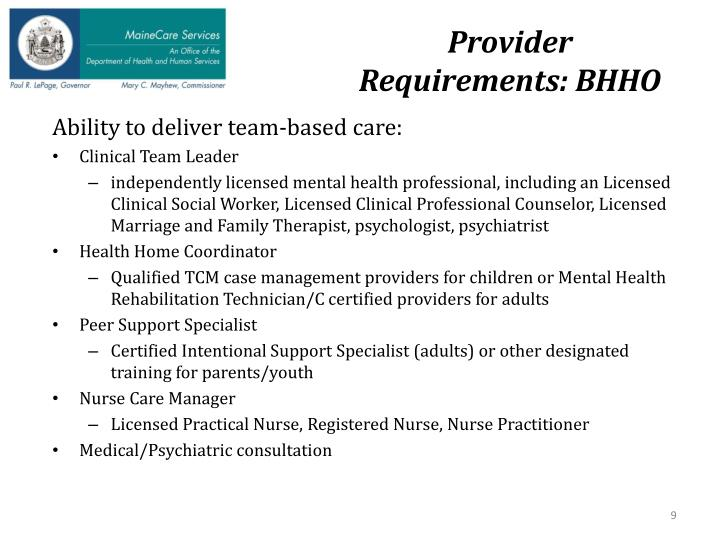 Provider Requirements