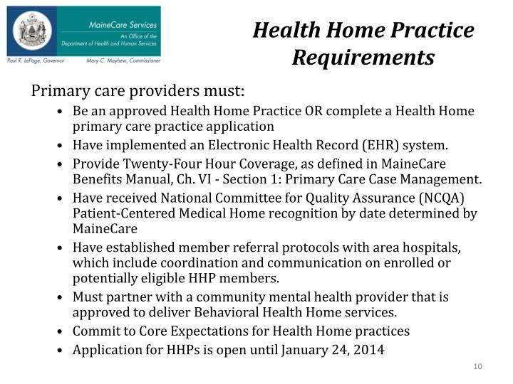Health Home Practice Requirements