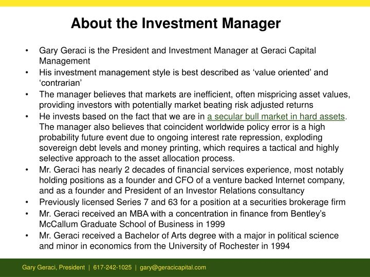 About the Investment Manager
